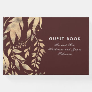 Burgundy and Gold Leaves Fall Wedding Guest Book