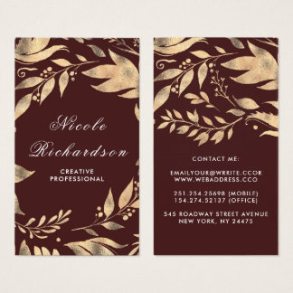 Burgundy and Gold Leaves Wreath Modern Chic Business Card