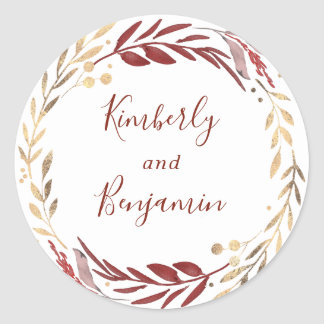 Burgundy and Gold Leaves Wreath Wedding Classic Round Sticker
