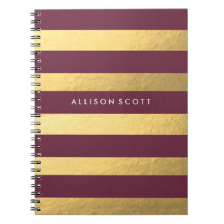 Burgundy And Gold Personalized Notebook