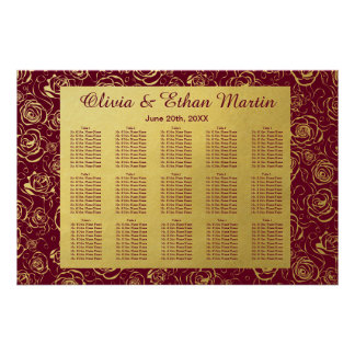 Burgundy and Gold Roses Wedding Seating Chart