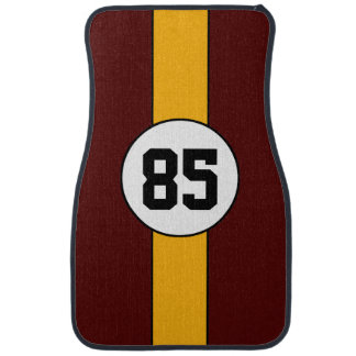 Burgundy and Gold Stripe car mats Auto Mat