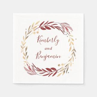 Burgundy and Gold Wreath Wedding Napkin
