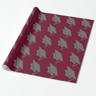 Burgundy and Gray Graduation Cap Wrapping Paper