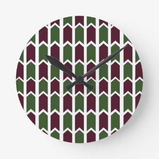 Burgundy and Green Panel Fence Round Clock