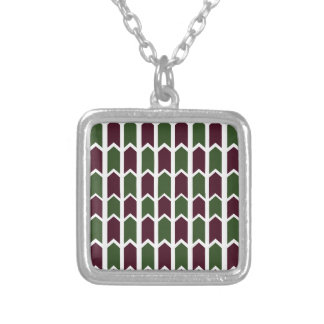 Burgundy and Green Panel Fence Silver Plated Necklace