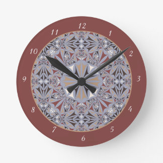 Burgundy and Grey Elegant Pattern Round Clock
