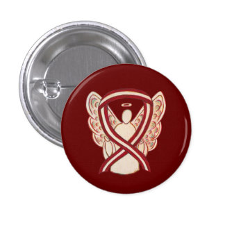 Burgundy and Ivory Awareness Ribbon Angel Pins