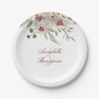 Burgundy and Ivory Floral Wedding Paper Plate