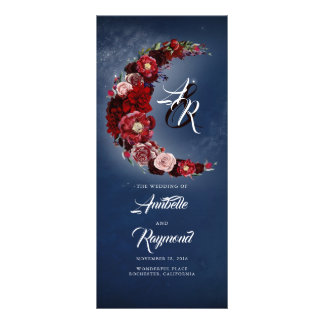 Burgundy and Navy Blue Vintage Wedding Programs