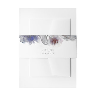 Burgundy and Navy Watercolor Flowers Invitation Belly Band