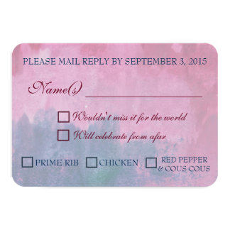 """Burgundy and Navy Wedding RSVP with Meal Options 3.5"""" X 5"""" Invitation Card"""