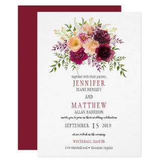 Burgundy and Peach Watercolor Floral Wedding | Card