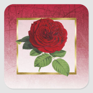 Burgundy and Red Rose Gold Border Square Stickers
