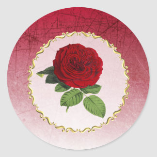 Burgundy and Red Rose Gold Border Stickers