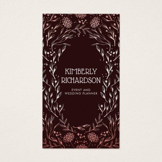 Burgundy and Rose Gold Floral Wreath Elegant Business Card