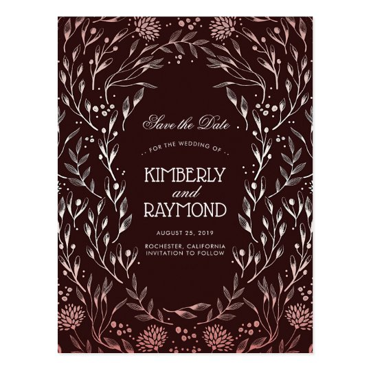Burgundy and Rose Gold Vintage Save the Date Postcard