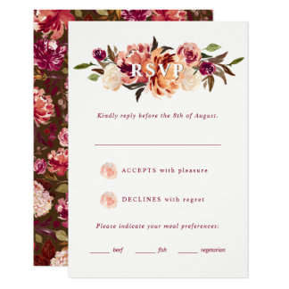 Burgundy and Rust Watercolor Florals Wedding RSVP Card