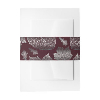 burgundy and silver fall leaves wedding invitation belly band