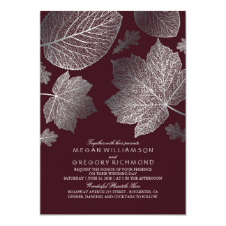 Burgundy and Silver Leaves Vintage Fall Wedding Card