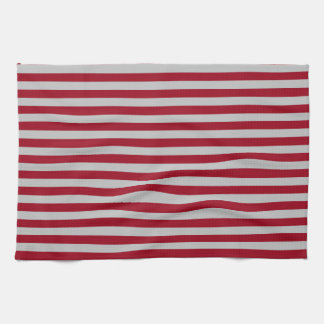 Burgundy and Silver Stripes Kitchen Towel