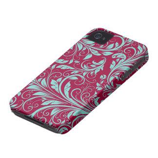 Burgundy and teal blue Damask Floral Patterns iPhone 4 Case