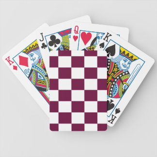 Burgundy and White Checkerboards Bicycle Playing Cards