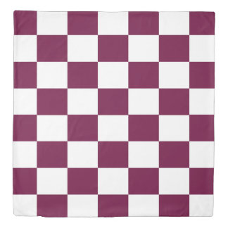 Burgundy and White Checkerboards Duvet Cover