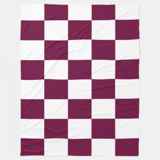 Burgundy and White Checkerboards Fleece Blanket