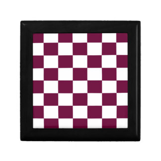 Burgundy and White Checkerboards Gift Box