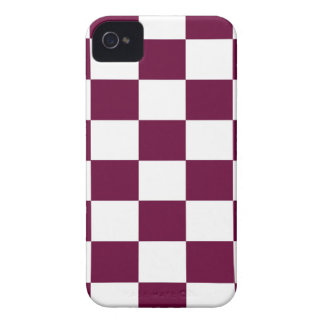 Burgundy and White Checkerboards iPhone 4 Case-Mate Cases