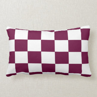 Burgundy and White Checkerboards Lumbar Pillow