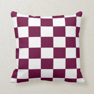 Burgundy and White Checkerboards Throw Pillow