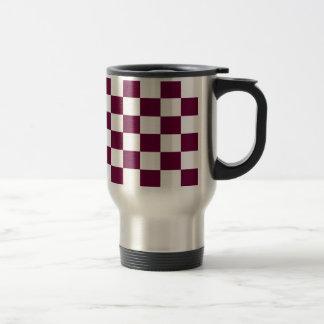 Burgundy and White Checkerboards Travel Mug