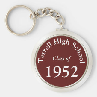 Burgundy and White Class Reunion Gift Ideas Keychain