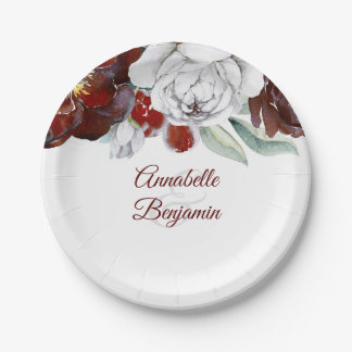 Burgundy and White Floral Wedding Paper Plate