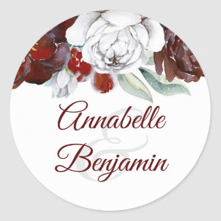 Burgundy and White Flowers Wedding Classic Round Sticker