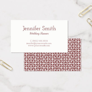 Burgundy and White Greek Key Business Card