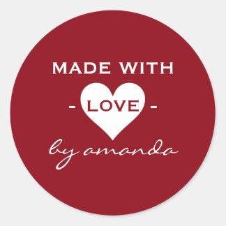 Burgundy and White - Made With Love (Custom Classic Round Sticker