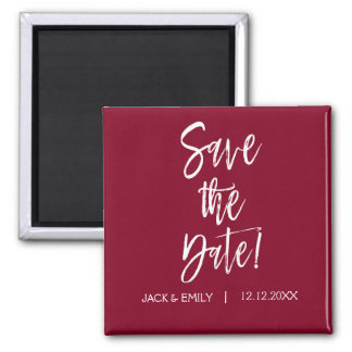Burgundy and White  Save the Date Magnet