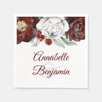 Burgundy and White Watercolor Floral Wedding Paper Napkin