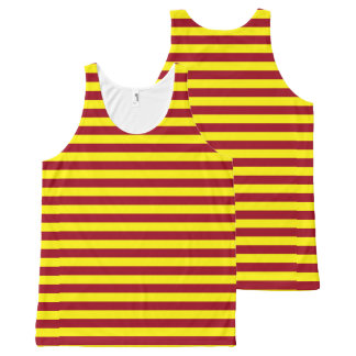 Burgundy and Yellow Stripes All-Over-Print Tank Top