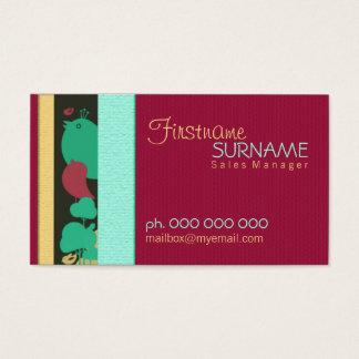 Burgundy Aqua Birdy Business Cards