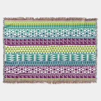 Burgundy Aqua Geometric Aztec Tribal Print Pattern Throw Blanket
