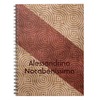 Burgundy Beige Wavy Line Diagonals Customizable Notebook