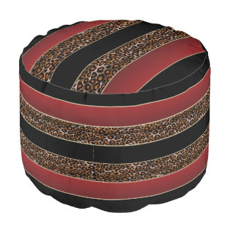 Burgundy, Black and  Leopard Print Pouf