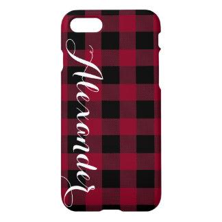 Burgundy Black Buffalo Check Plaid Name Monogram iPhone 8/7 Case