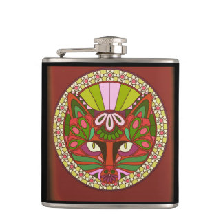 Burgundy & Black Cosmic Cat Flask