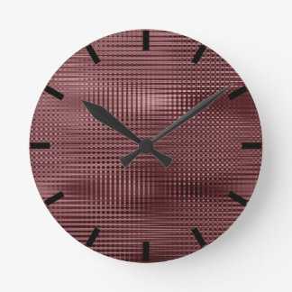 Burgundy Black Minimal Metallic Stripes Round Clock