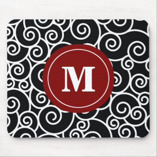 Burgundy Black Swirl Monogram Mouse Pad. Mouse Pad